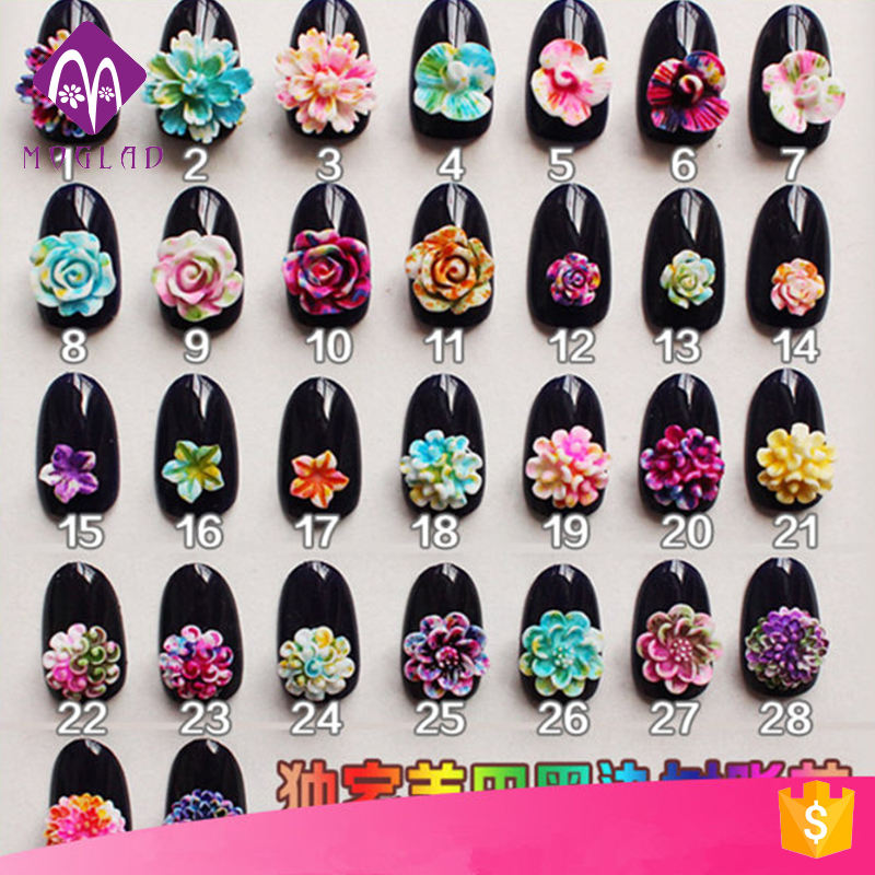Exclusive Customized Flower Nail Art 3D Shading Resin Flowers Blooming Effect