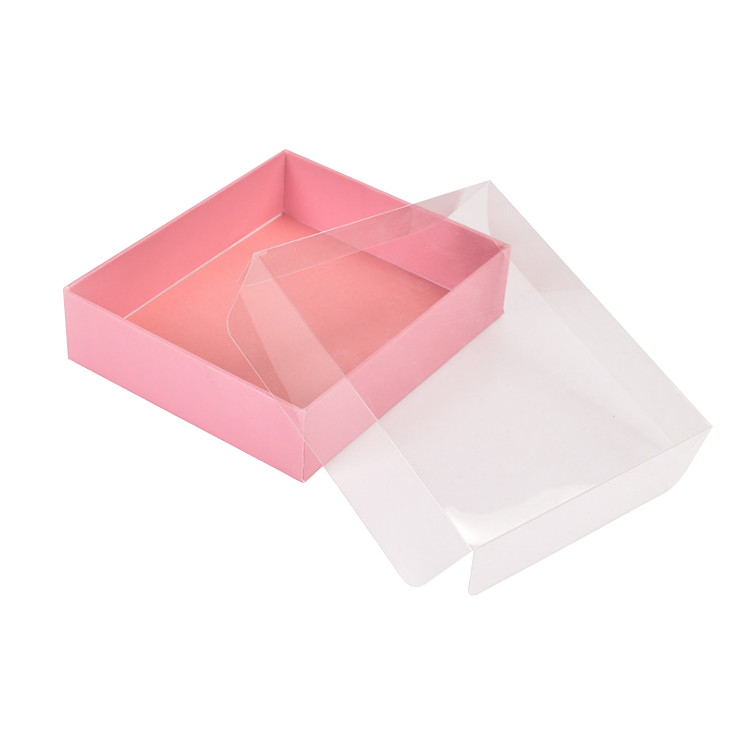 Cosmetic display pastry cake scarf tie hair clips packaging gift box with clear pvc lid