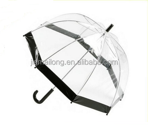 Long Auto Open Clear Plastic Bubble Umbrella with color boarder