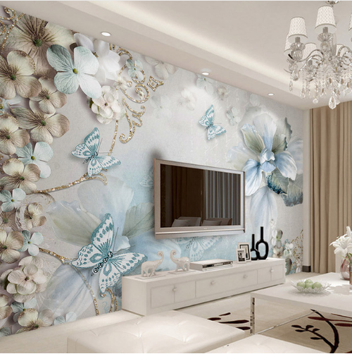 3D Mediterranean Small Flower Butterfly Jewelry Bedroom Closeout Wallpaper