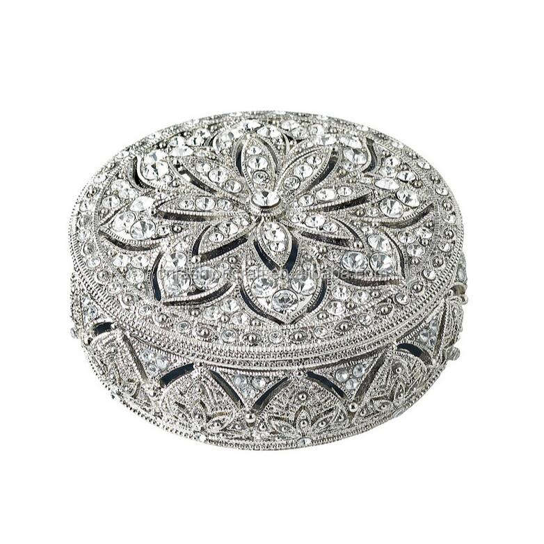 Round shape Pewter Alloy hand made metal jewelry box jeweled metal trinket boxes for wedding