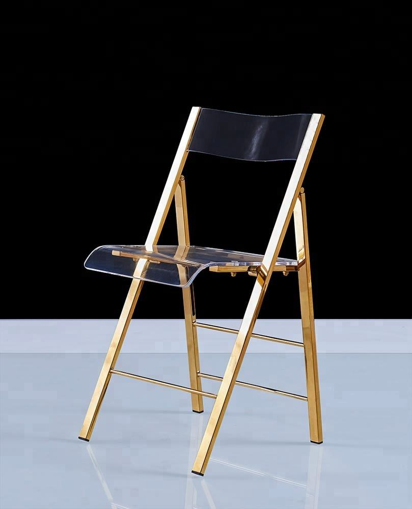 Bulk Promotion Acrylic Folding Chair with stainless Metal base brass chrome fold chairs