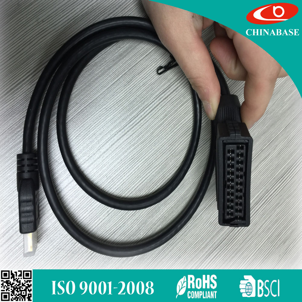 Cable macho OD6MM Scart hembra a HDMI