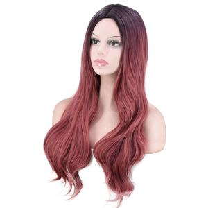 Black To Pink Ombre Wig Synthetic Hair Long Wavy Wig