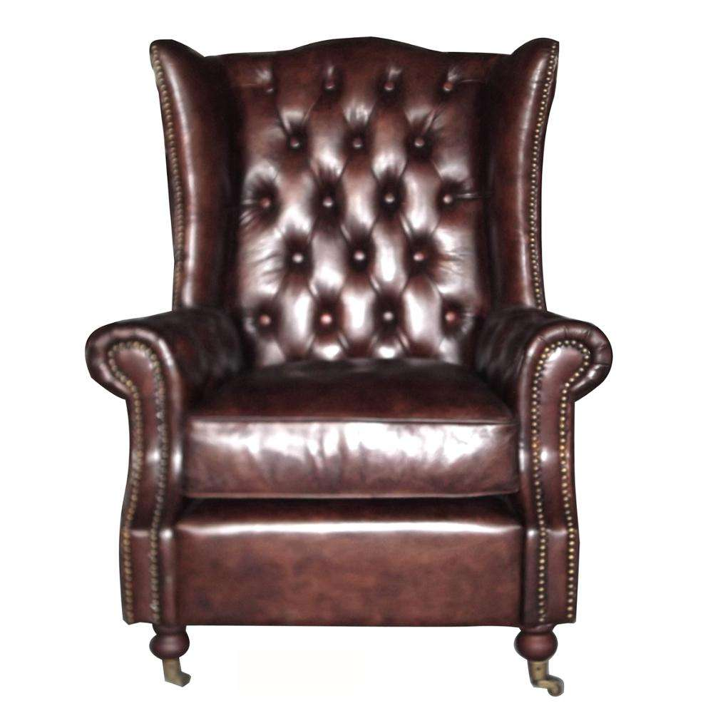 Retro Leather Chesterfield Chair Armchair For Sale