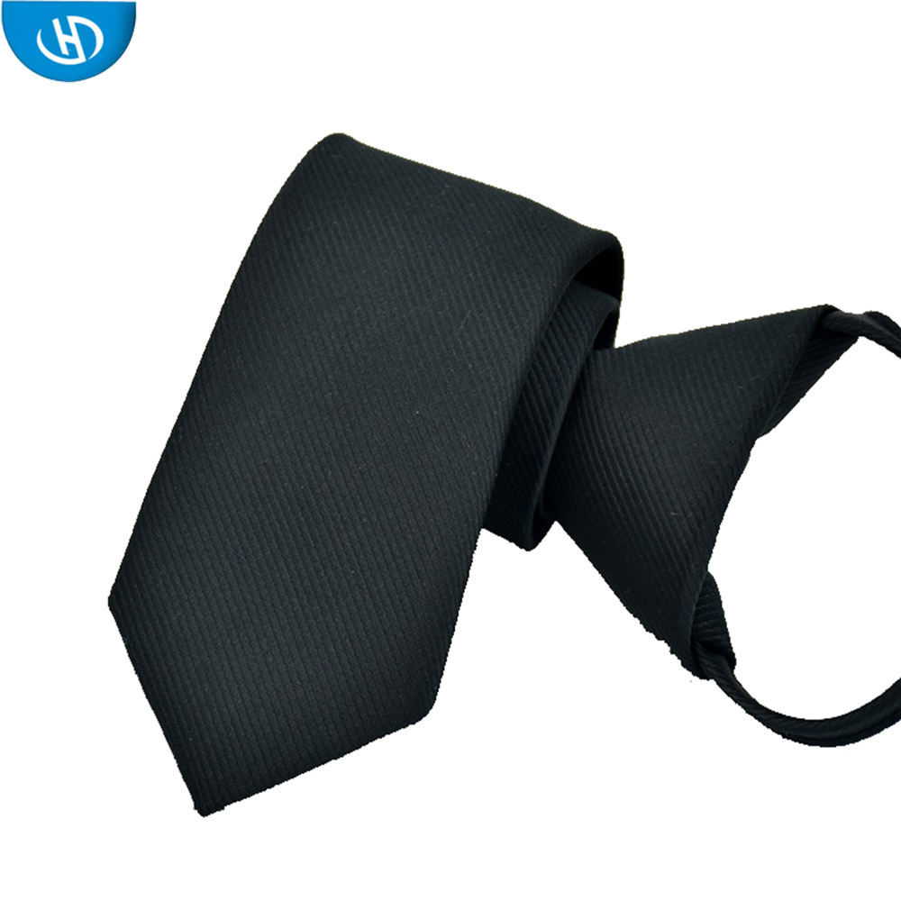 Fashionable Handmade Handsome Solid Wholesale Cheaper Black Zipper Tie With Custom Label