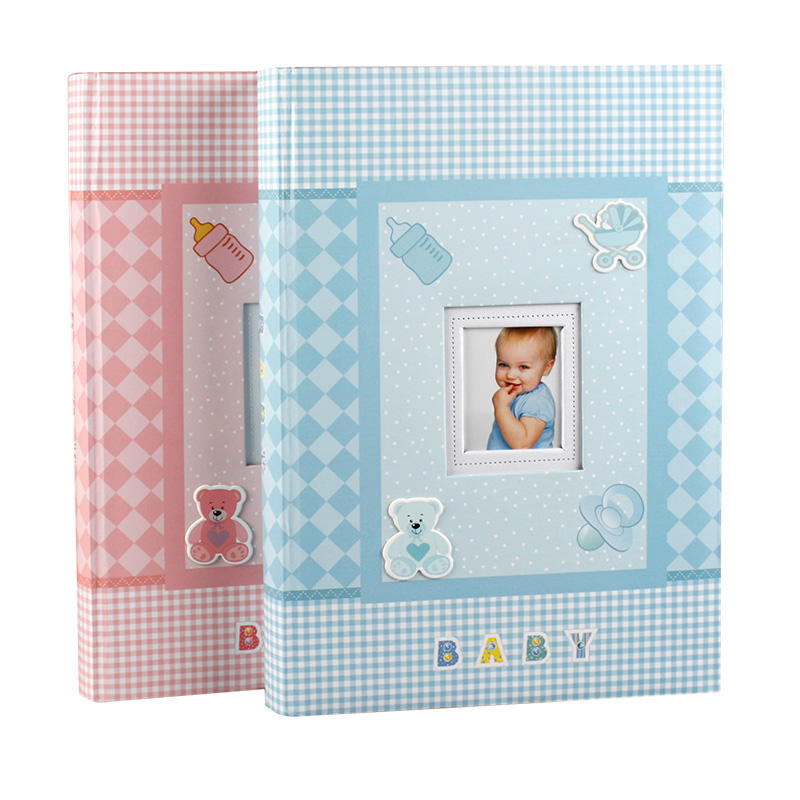 큰 baby photo album 4x6 3up 메모 종이 slip in kids 스크랩북 brads 책 style 4R pink 및 blue color