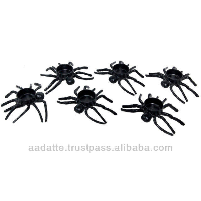 Indian handicraft black spiders aluminum tea light holder