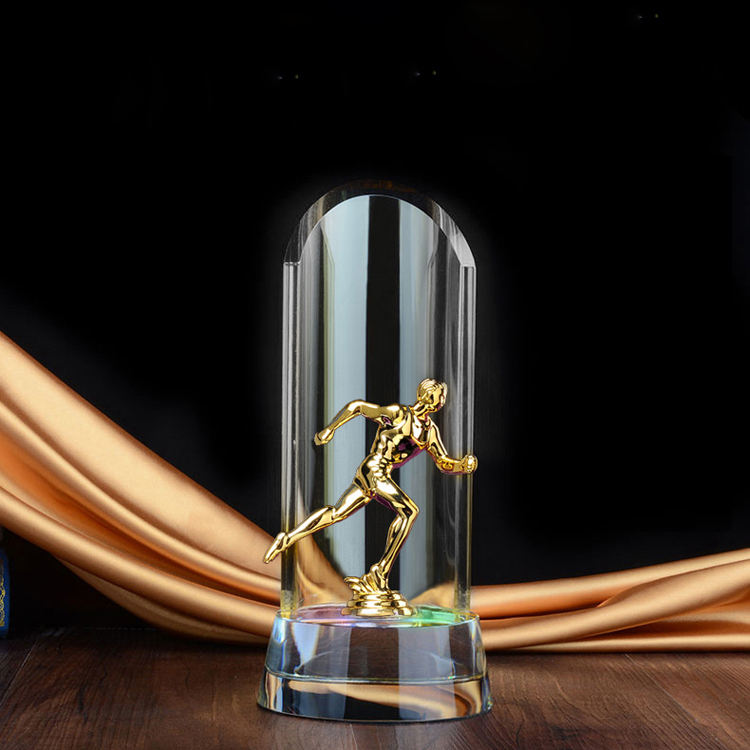 Basketbal crystal plaque metalen plaque voetbal trofee voetbal glas craft souvenir tennis figuur voor sport match