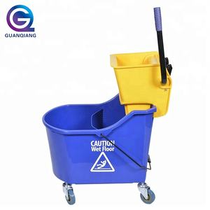 High quality single plastic wringer mop bucket with wheels for cleaning company / hotel / restaurant