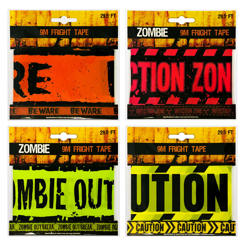 3 x 30ft Halloween Caution Tape Banner Zombie Haunted House Party Decoration