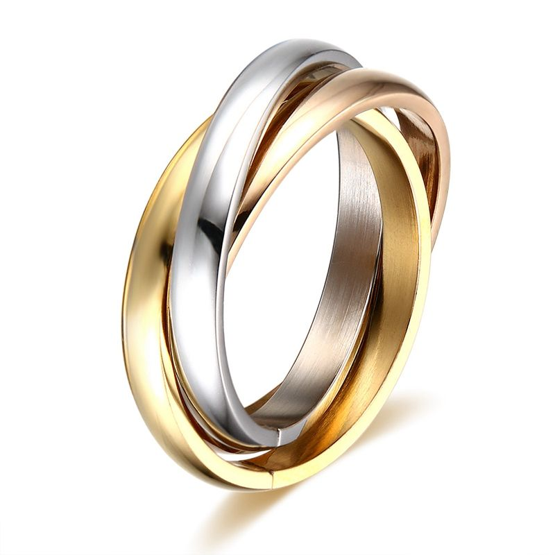 wholesale 2013 silver gold rose gold interlocking CNC wedding band rings 316 stainless Triple Band Rolling Russian Wedding Ring