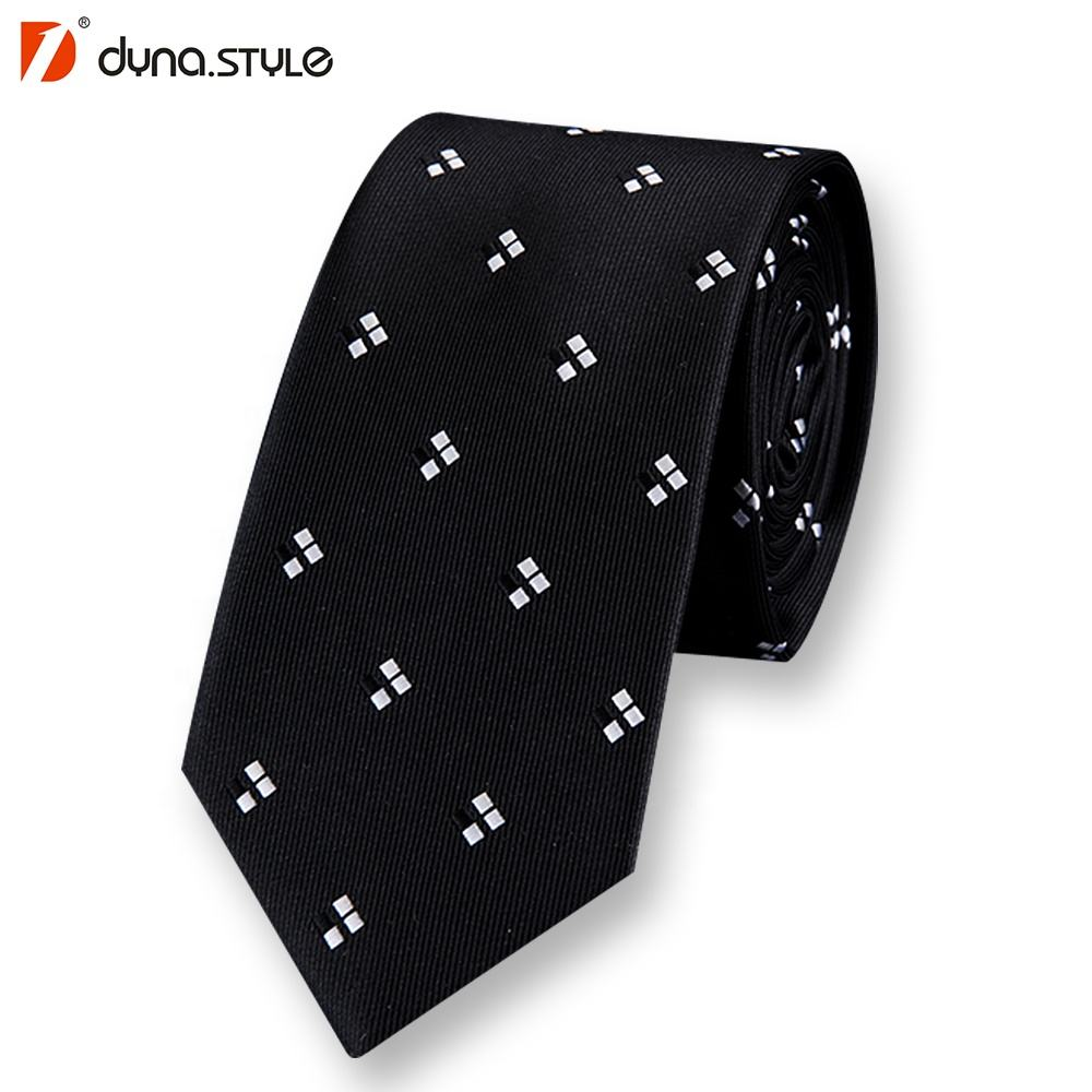 Custom Wholesale Low Price 100% Silk Necktie Black