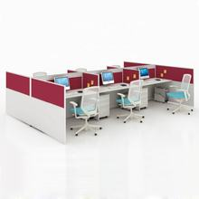 Modern panel aluminum low partition 6 person office workstation