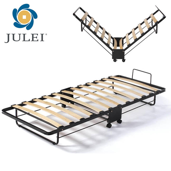 Extra Folding Slatted Bed Frame With Mattress Stopper
