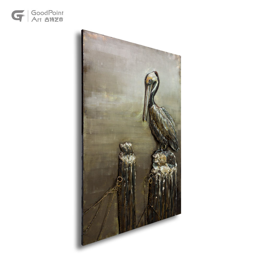 Wallpaper home decoration 3d kinetic sculpture art bird wall painting crafts metal art