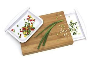 Bamboo Wood Cutting Board With 2 Removable Plastic Half Trays