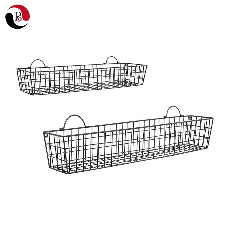 Wholesale Farmhouse Garden Iron Metal Wire Wall Planter Flower Pot Rack