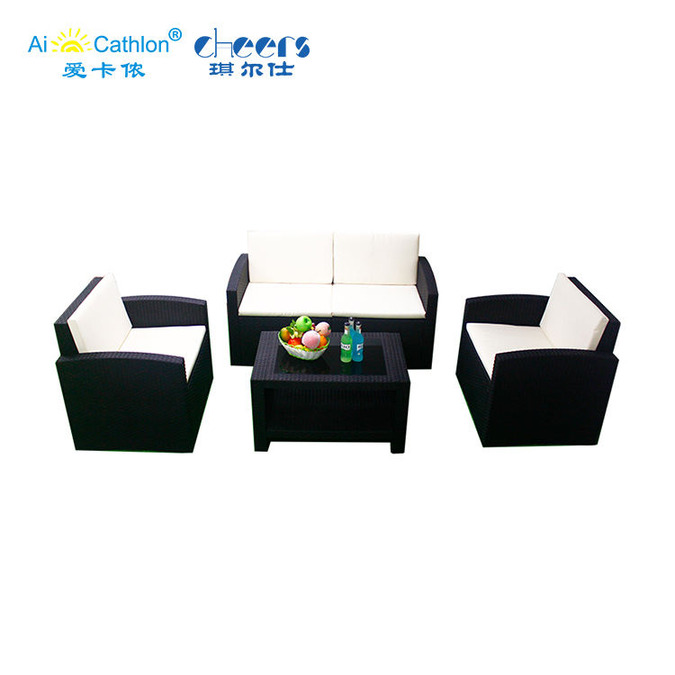 Garden Furniture Outdoor Low Price PP Injection Wicker Garden Outdoor Plastic Rattan Sofa Set