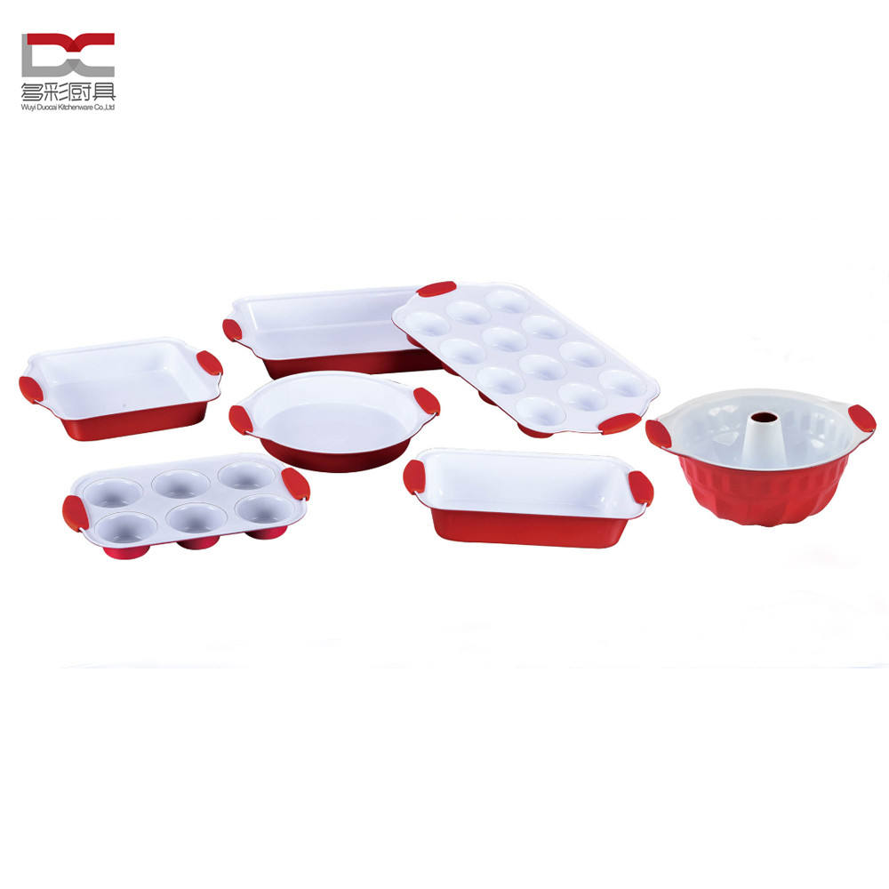 Food Grade Colorful Silicone Handle White Ceramic Coating Carbon Steel Non-Stick Wholesale Bakeware Set