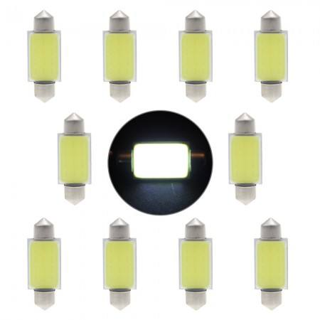 10 adet 39mm 12 V COB SMD LED Beyaz Festoon Dome Panel İç Ampul Işık
