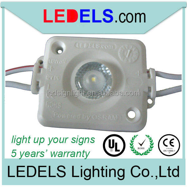 UL CE Rohs approved 5 years warranty 160 degree view angle waterproof white 12V 1.6W led sign lighting module for light box sign
