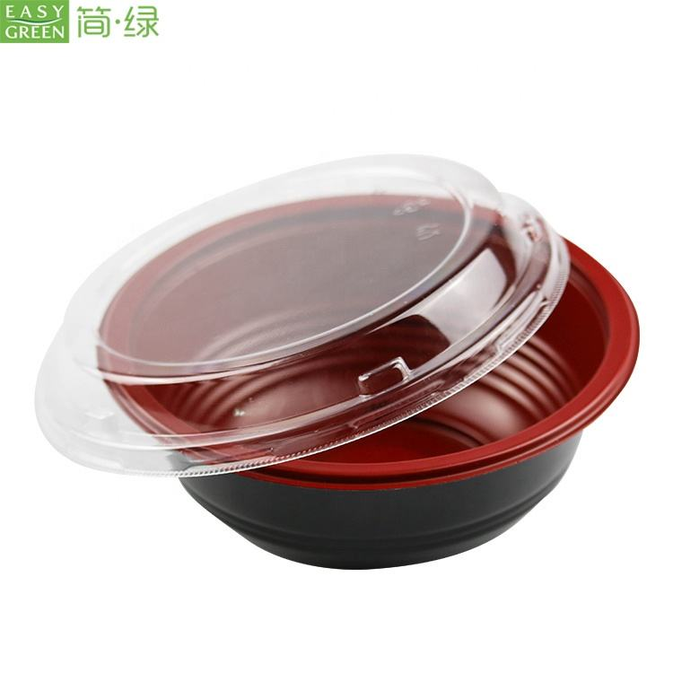 Easy Green Disposable Microwavable PP Soup Ramen Bowls Hot Food Container With Lid