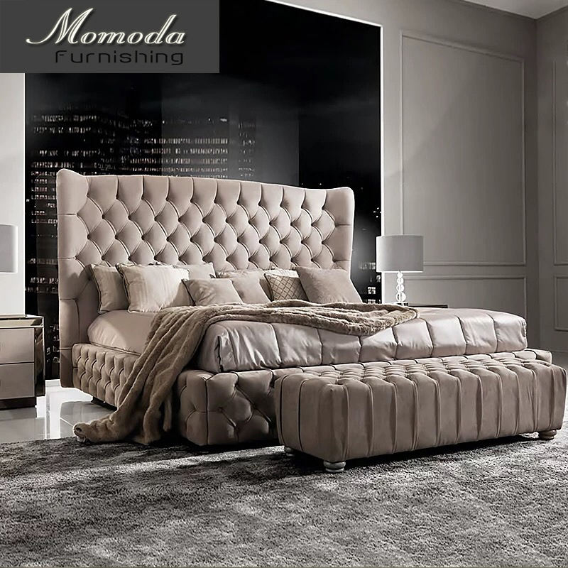FO228 moder upholstery grey velvet bed soft victorian bedroom furniture set/ fabric modern bedroom furniture