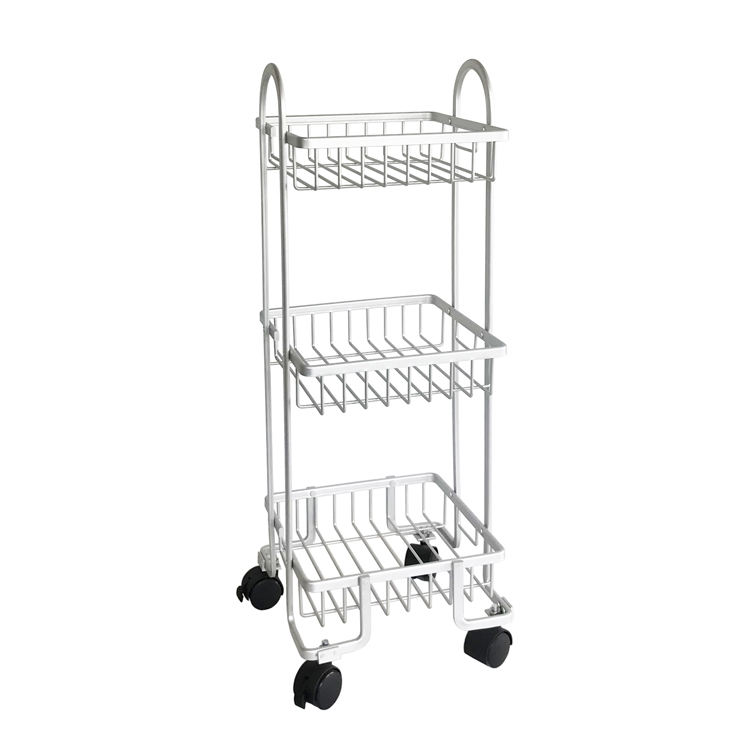 2018 Style 3 Layer Tier Aluminium Bathroom Shelf Rack with Wheel China Manufacture