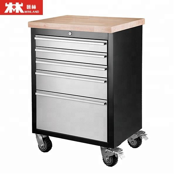 5 Drawers Tool Chest Tool Trolly with 4 Wheels and 2 Brakes, 3.8cm Rubber Timber Desk