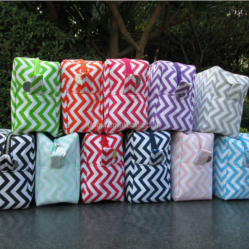 Wholesale RTS Chevron Cosmetic Bag Monogram Chevron Makeup Case Personalized Chevron Toiletry Box With Zipper Closure DOM-108001