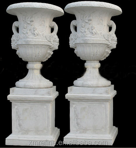 Classic White Carved Stone Vases
