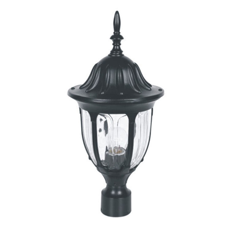 "Led Post Head Lamp Exterior Top Post Lantern Pier Mount Pillar 1 Light Black fits 3"" Base or Pole"