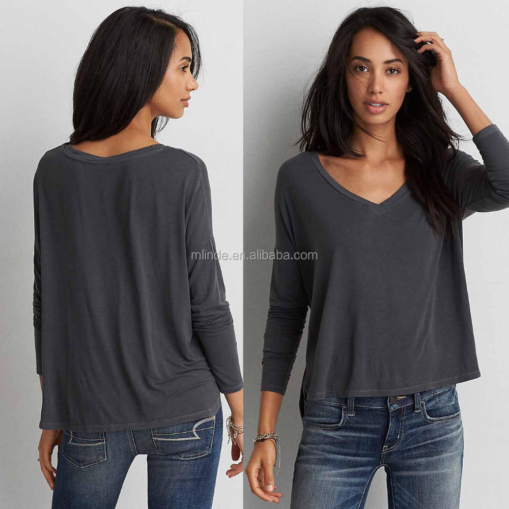 Custom Made Basics In China Fall Long Sleeve Deep V-Neck Loose Dry Fit Plain Blank Dark Grey Gray Charcoal Cotton T-Shirt