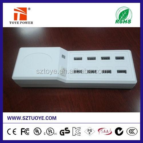 2015 최고의 판매 5V 12a 8 포트 USB 태블릿 충전기 스마트 폰에서 영국 회사 eu au 플러그