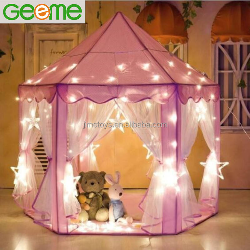 JT020 QUALITY Pink Hexagon Princess Play Tent with Star LED Lights for Children