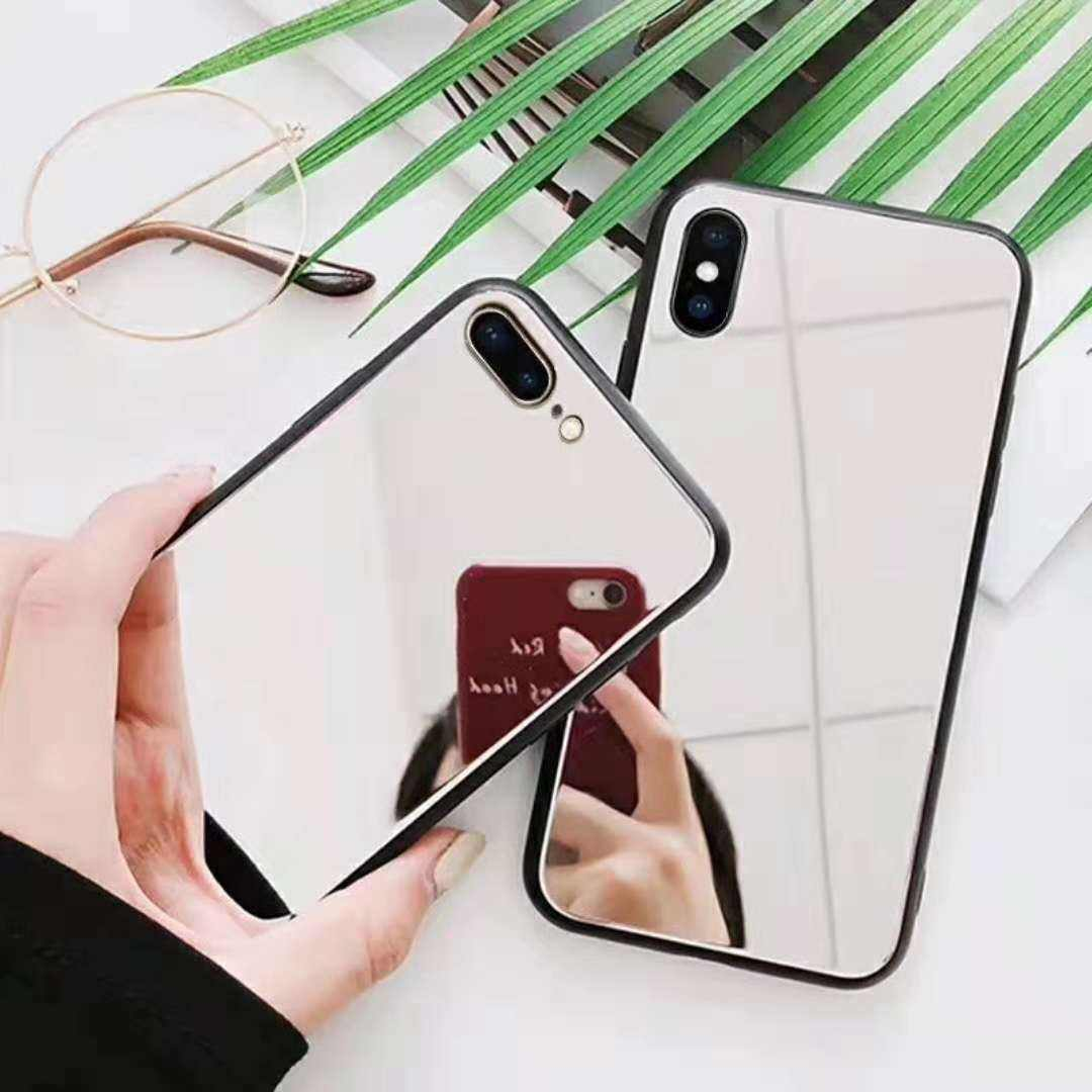 Twee In Een Telefoon Case Makeup Selfie Spiegel Voor Iphone X Mobiele Shell Ip8/7 Plus Spiegel Glas 6 S Private Label Mobiele Telefoon Case
