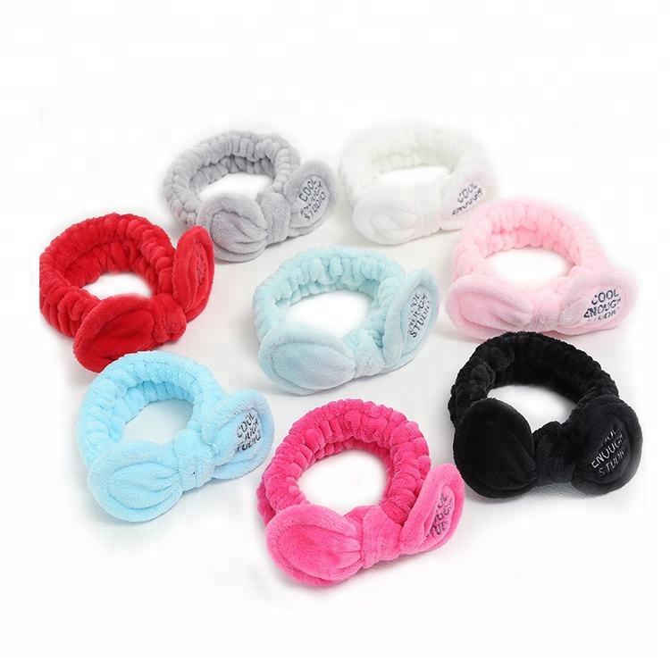 fashion large bow elastic velvet spa wash fash make up headband for women