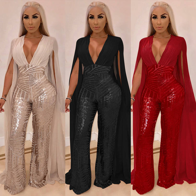 Lifu Ladies Party Wear Gown Designs Long Sleeve Sequin Jumpsuit Women