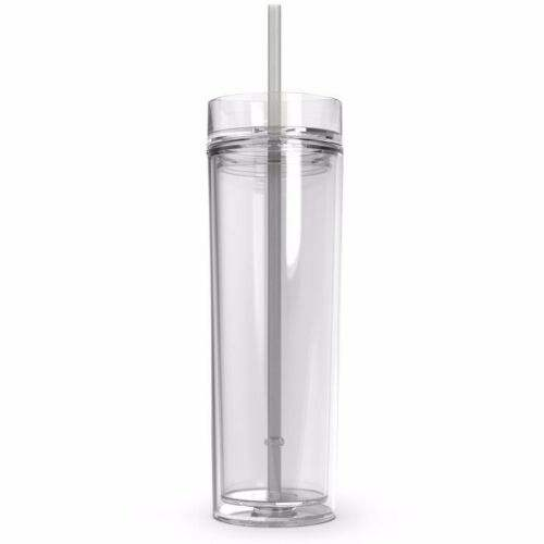 16 oz plastic skinny tumblers Insulated Clear Acrylic Tumblers with Lid and Reusable Straw 16oz Travel Cups Skinny Double Wall