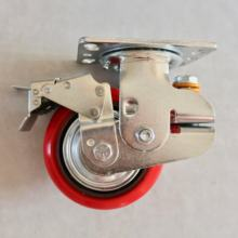SS 6 Inch PU spring loaded shock absorber caster wheels