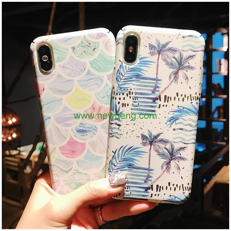 Luxury Water Decal Flower Printing Scrub hard PC phone case for iphone x