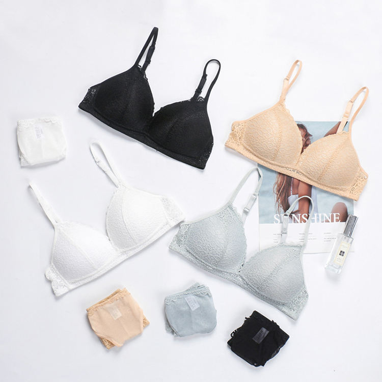 New lace sexy triangle cup BRA Japan and South Korea, Europe and the United States soft skin BRA silk quality underwear