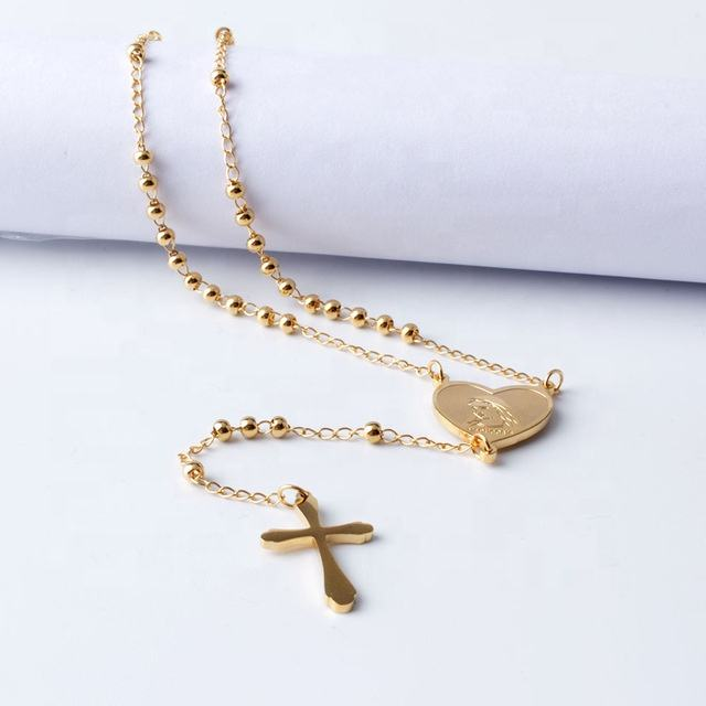 Stainless Steel Gold Long Rosary Beads Catholic Necklace Virgin Mary Heart Necklace