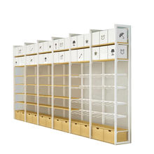 Hot sale Retail cosmetics store wall mounted wood supermarket retail display shelf