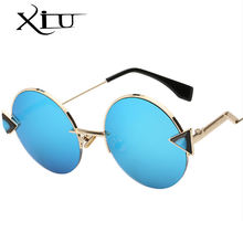 Xiu round unique shades sunglasses ocean lens with UV400 protection woman traveling sun glasses in 2018