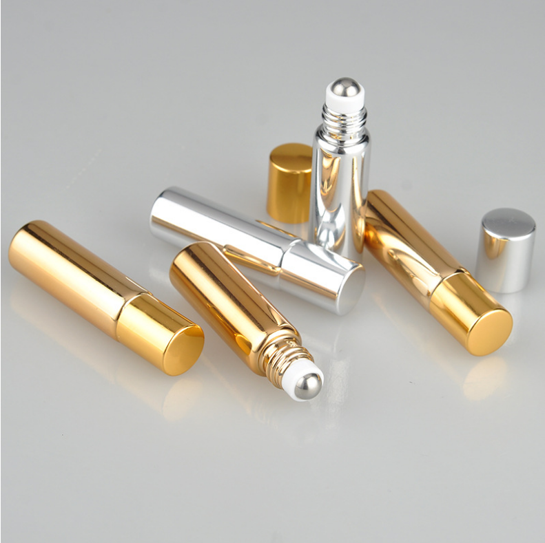 5 ml UV superfície de vidro metal mini roll on frasco com bola de rolo de metal