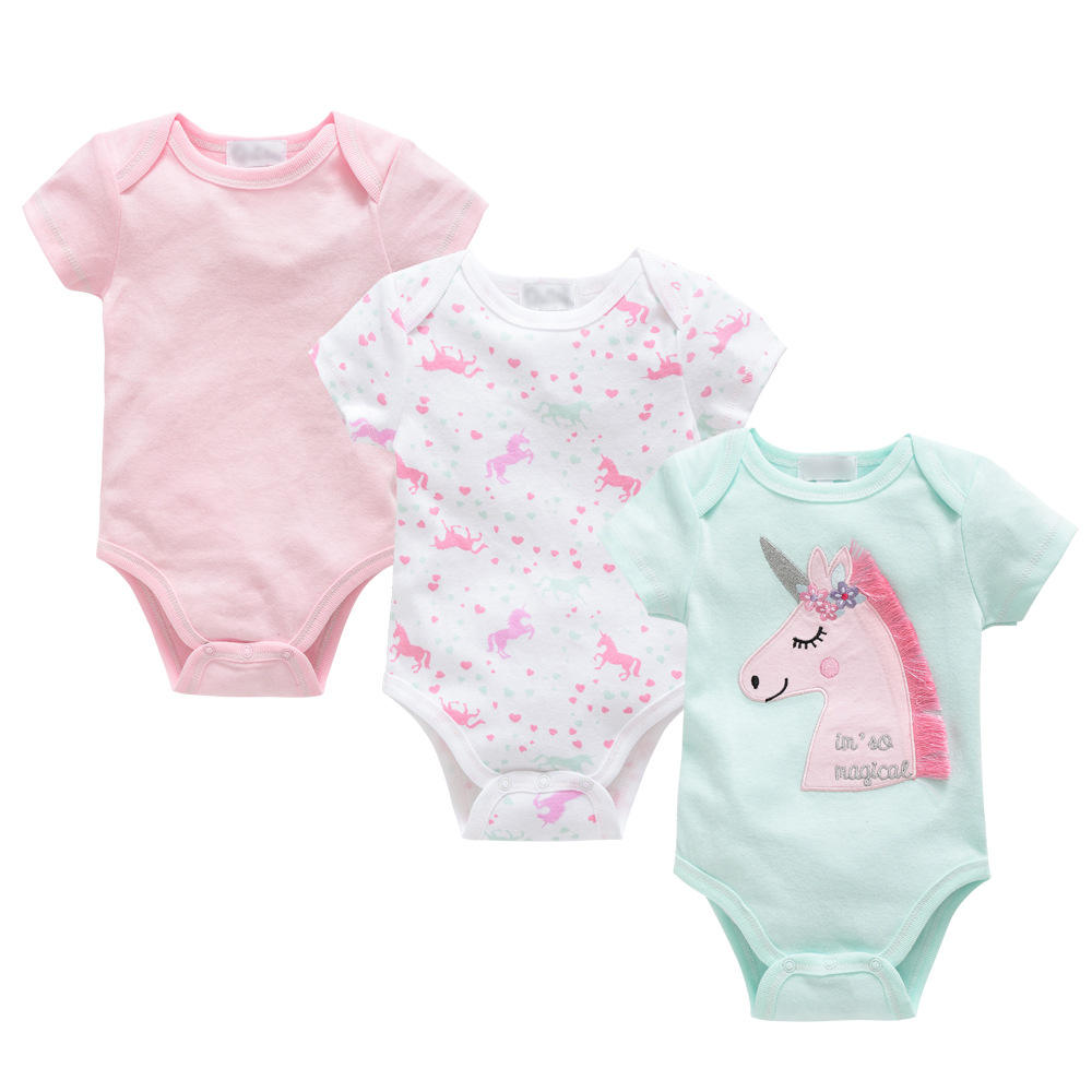 Ivy10016G Kids baby 100% organic cotton cute romper toddlers short sleeve summer unicorn romper