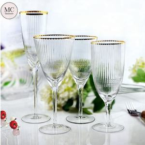 Wholesale Handmade Clear Red Wine Glass With gold sliver rim