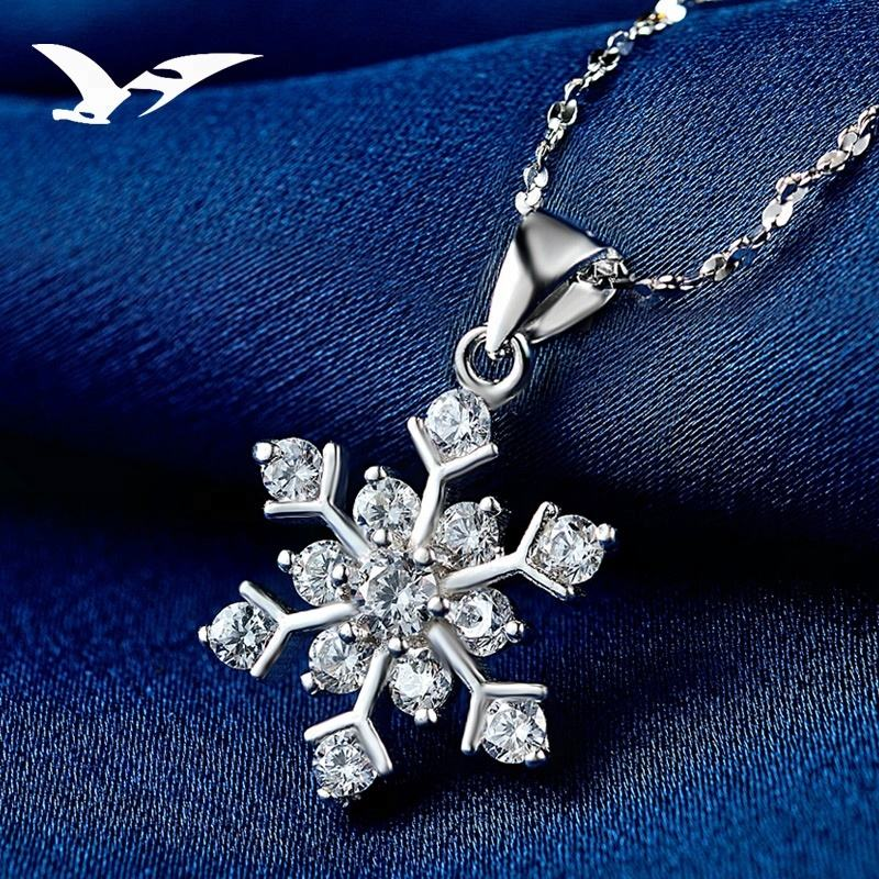 Christmas Crystal jewelry Snowflake Charm Pendant For 925 sterling silver